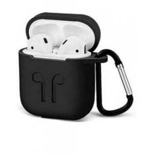 AirPods Case, Silicone Protective Shockproof Case Cover Skins with Keychain Compatible with Apple AirPod 2 and 1, Navy Blue & Black color