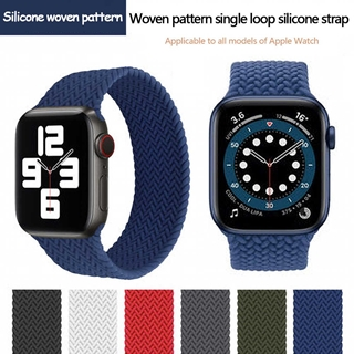 The new woven single loop strap is for Apple Watch 6/se woven pattern silicone elastic strap iWatch generation 44mm42mm