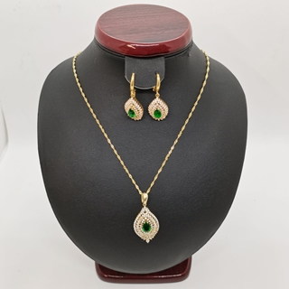 صورة Ladies Silver Half Set  23.11g with Emerald stone