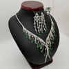 Picture of Ladies Silver Half Set 25.39g with Emerald and zircons.