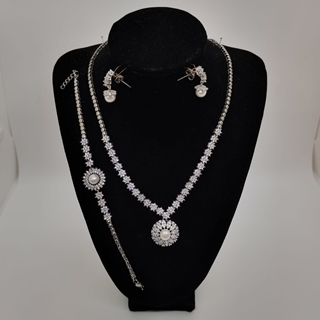 Picture of Ladies Silver Half Set Drop Shape with stone