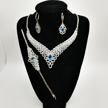 صورة Ladies Silver Half Set 20.12g with Blue Topaz