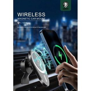 Green Wireless Magnetic Car Charger/Mount 15W(Air Vent + Stick-on-Holder)