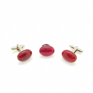 Enrico Marinelli Red Cufflinks with suit pin