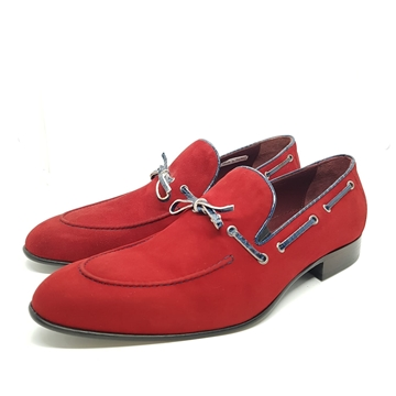 Enrico Marinelli Mens Formal Smart Casual Party Slip On Fine Suede Knot Red Shoes