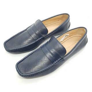 Enrico Marinelli Mens Leather Casual Loafer Navy Blue Shoes