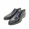 Enrico Marinelli Mens Lase-up Formal Wedding Shinny Navy Blue Shoes