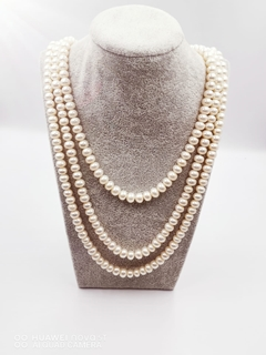 3 line Pearl Necklace with silver lock 130.9 g