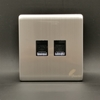 Feather Screwless Computer & Telephone Wall Socket in Silver and Gold Color SW-PH1/PC1