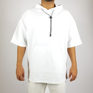 White Solid Oversize Hoodie with Short Sleeves and Pocket