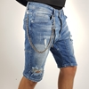 Men's Blue Jeans Ripped Short with Chain