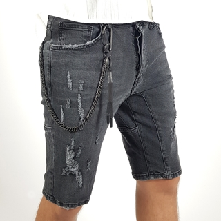 Men's Gray Jeans Ripped Short with Chain