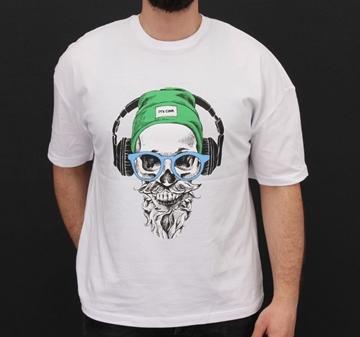 Regular T-shirt Skull design round neck in Black and white color