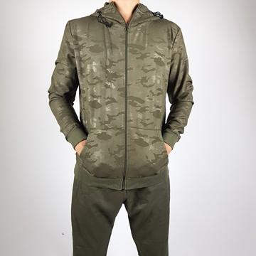 Long Sleeves Men Hoodie Tracksuit Military Design in Black and Green