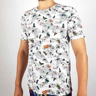 Men Regular Short Sleeves T-shirt with Insects Design
