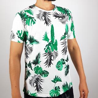 Men Regular Short Sleeves T-shirt with leaf Design