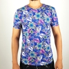 Men Regular Purple Short Sleeves T-shirt with Flower Design