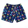 Men Navy Lozenge Shape Lines Design Swimming Short