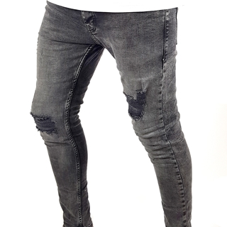 Men Faded Gray Ripped Skinny Jeans