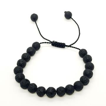 8mm Black Volcanic Lava Natural Bracelets for Women and Men Round Beads