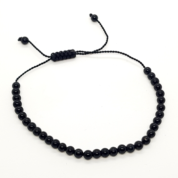 3mm Black Onyx Natural Stone Bracelets for Women and Men Round Beads