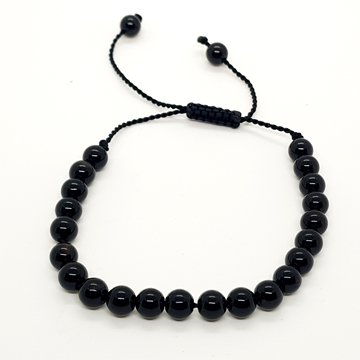 6mm Black Onyx Natural Stone Bracelets for Women and Men Round Beads