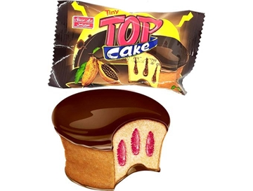 Tiny Top Cake with Cocoa Flavor Cream and Chocolate 30 g (Pack of 24)