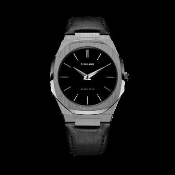 Gun Metal Ultra Thin Leather 40 mm D1 Milano Watch
